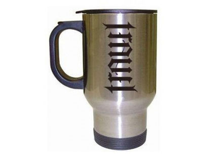 ambigram travel mug
