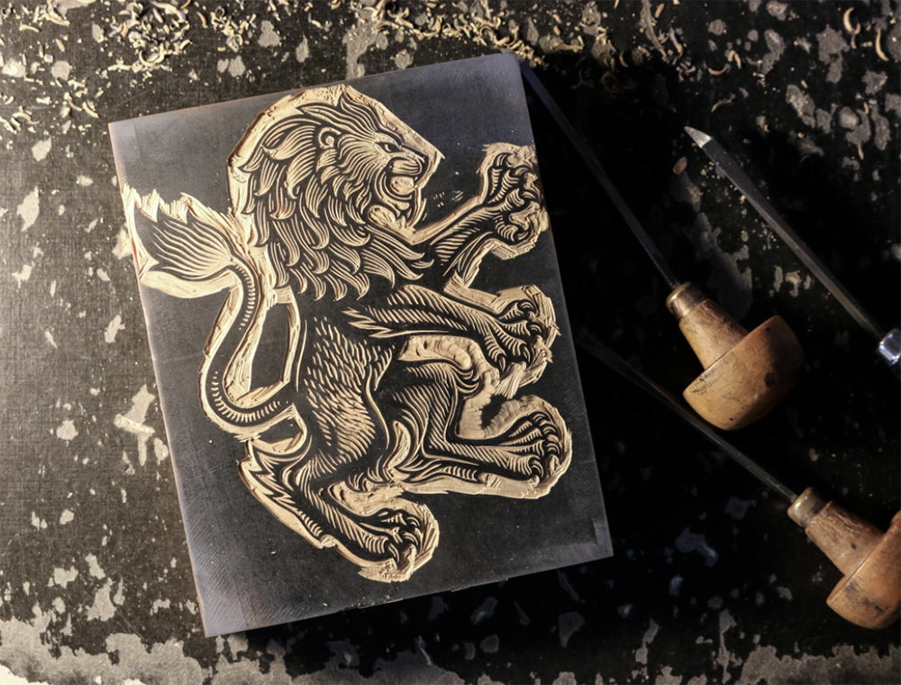 Aston Villa lion engraving