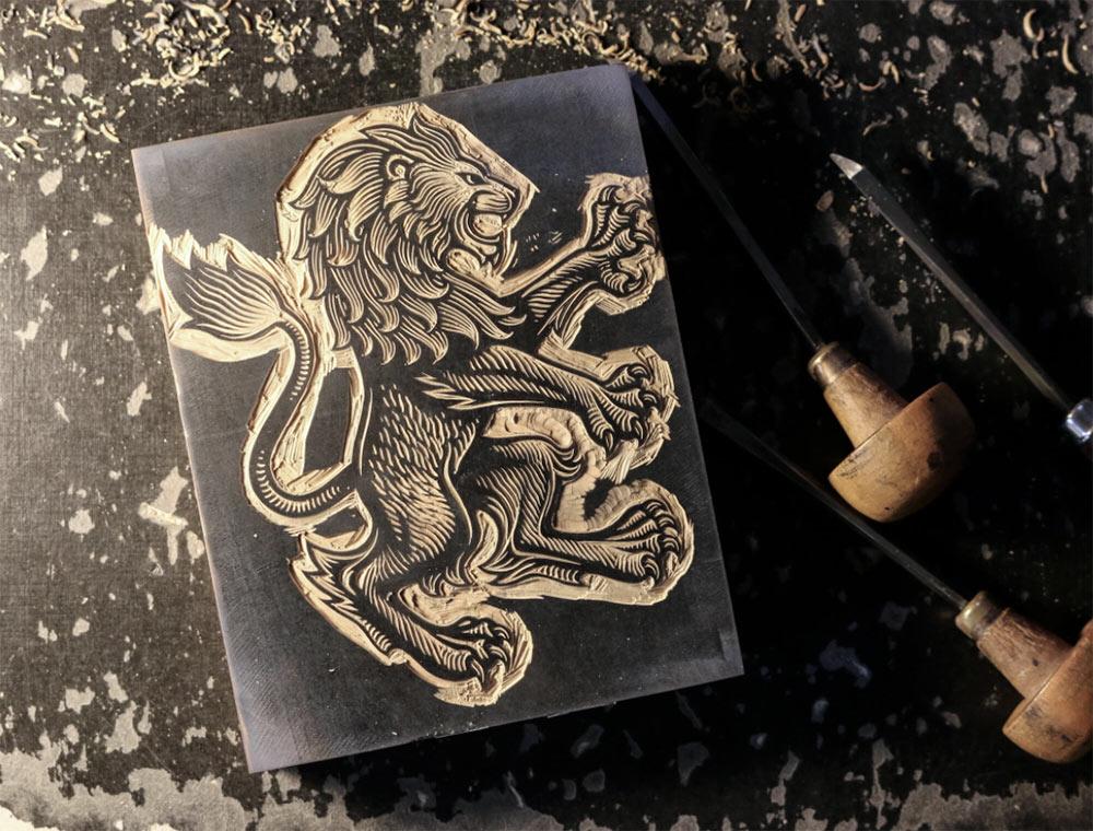 Aston Villa lion engraving
