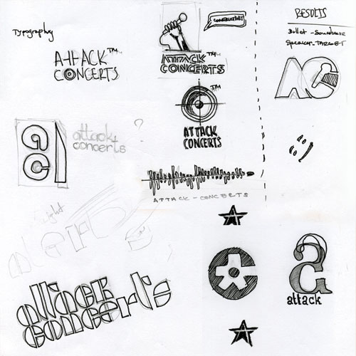 Attack Concerts logo sketches