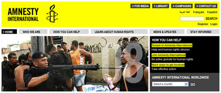 Amnesty International website design