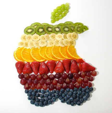 Apple logo fruit salad