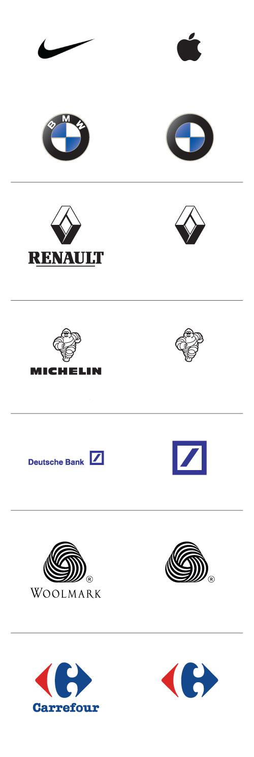 De-cluttered logos