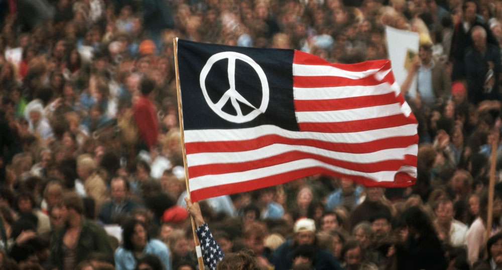 Peace symbol USA flag