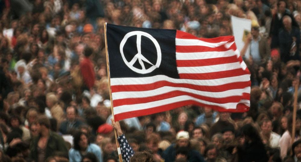 Peace symbol USA flag
