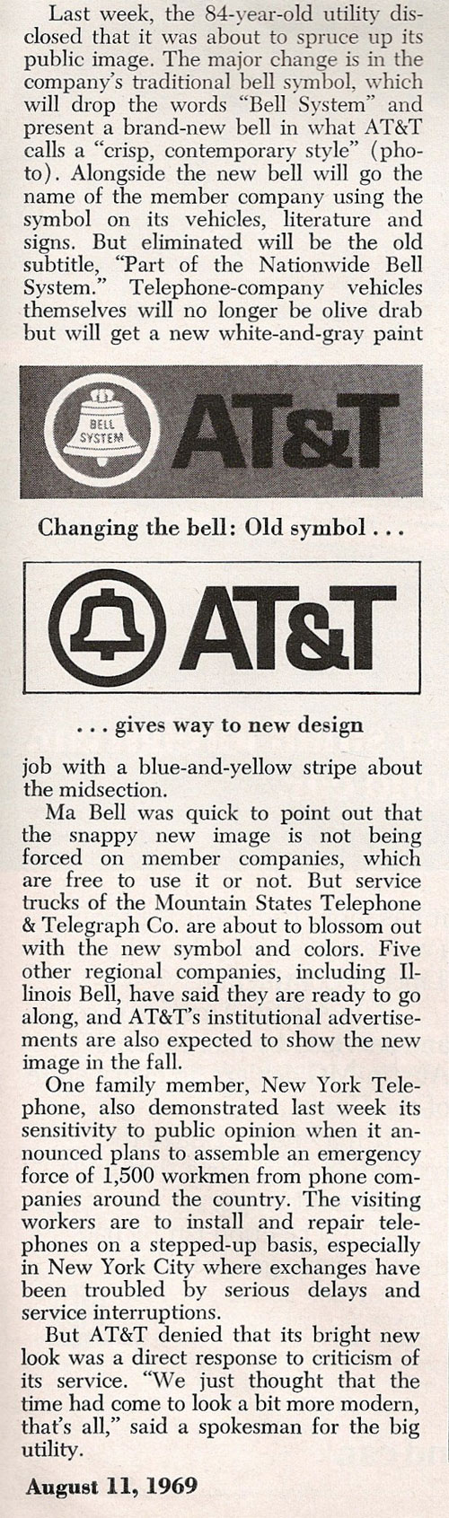 Saul Bass Bell System newspaper clipping