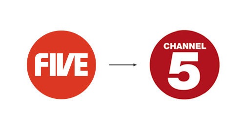 Channel 5 logo before and after