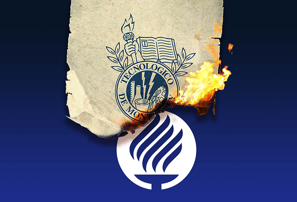Tec de Monterrey new logo burning old