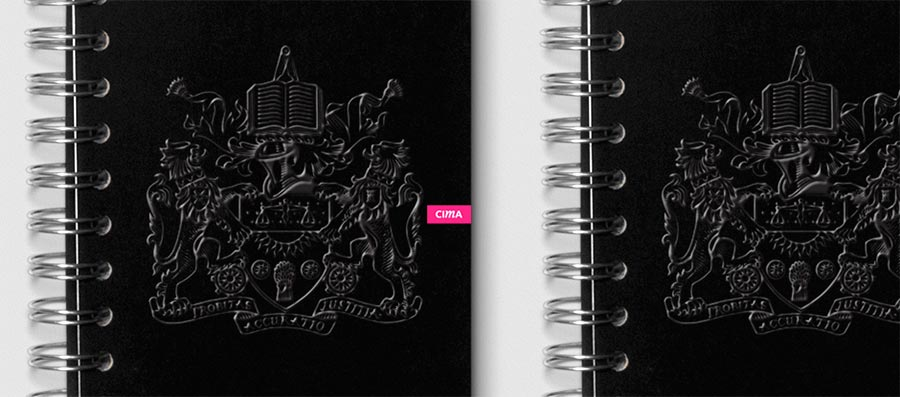 CIMA embossed notebooks