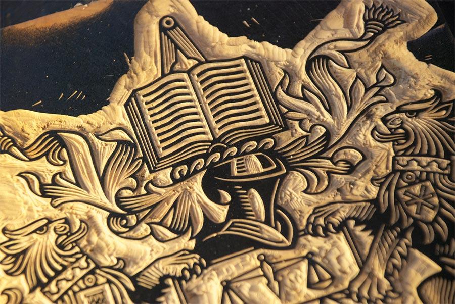 Inked woodcut