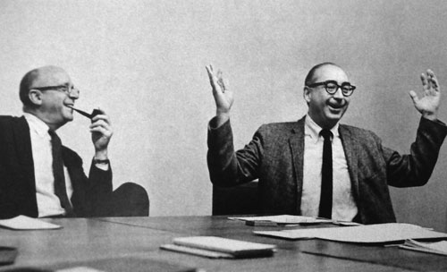 Saul Bass in a meeting, mid 1960s