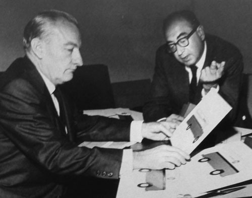Saul Bass with Mark Kramer in 1966
