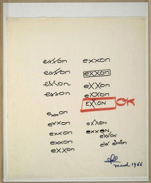 exxon-logo-sketches-loewy Exxon by Loewy design tips