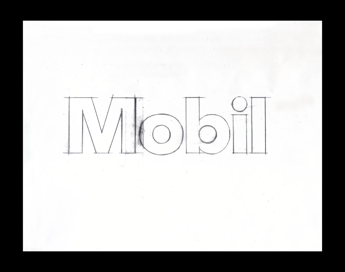 Mobil Oil Corporation logo sketch