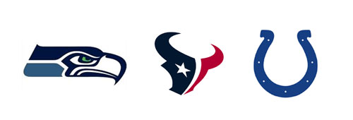Seattle, Houston, Indianapolis NFL logos