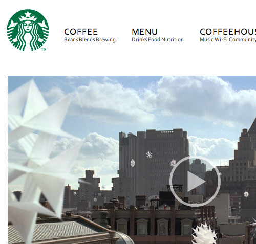 Starbucks website screenshot