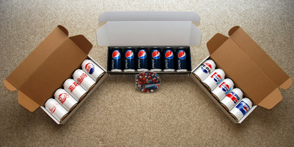 Pepsi cans with new logo