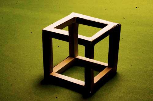 Paper Necker cube