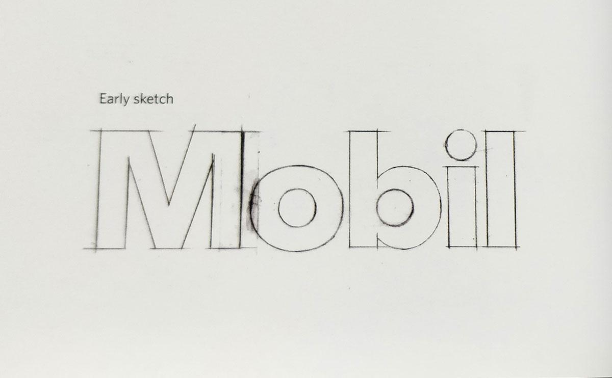 Mobil logo sketch Tom Geismar 1964
