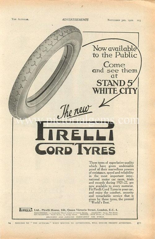 Vintage Pirelli ad 1922