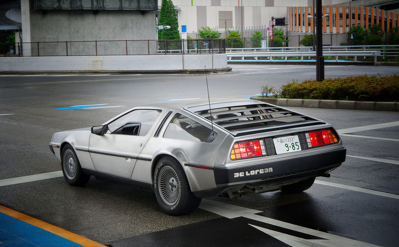 DeLorean car on road