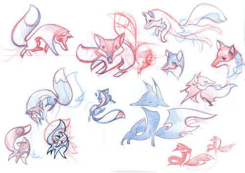 Firefox logo sketches
