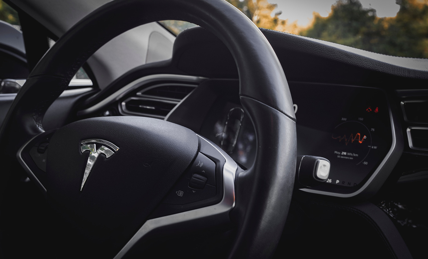 Tesla logo steering wheel