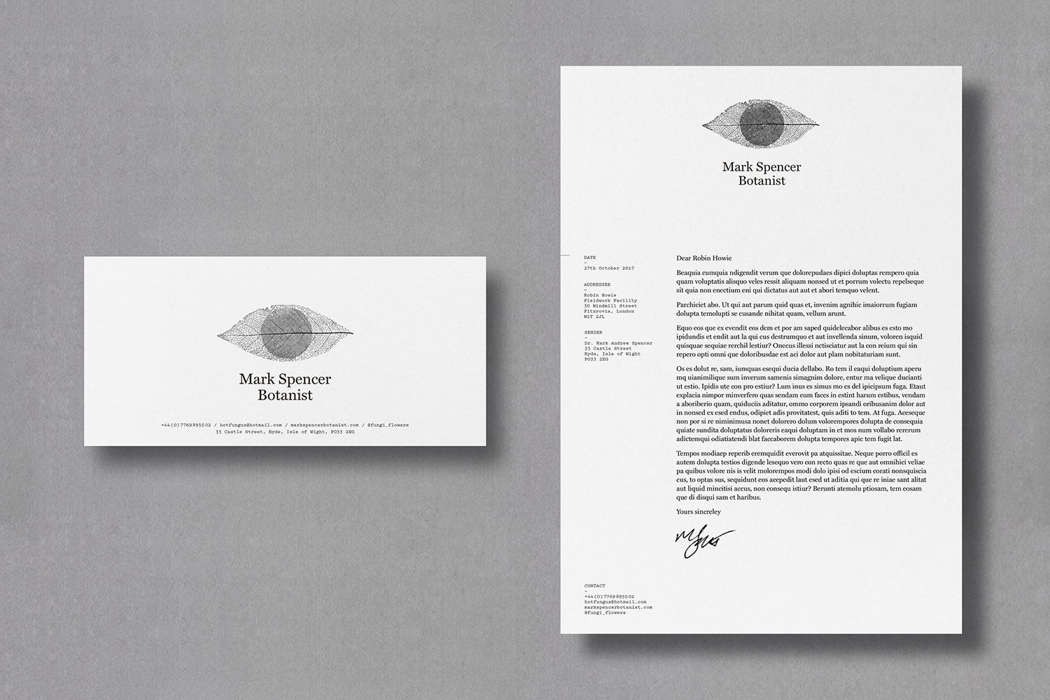 Mark Spencer forensic botanist letterhead