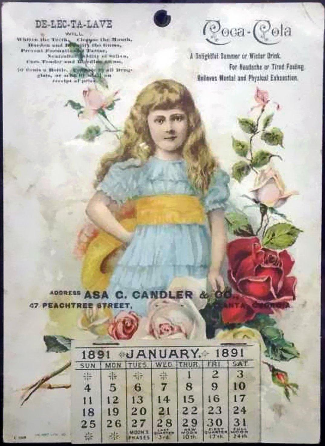 Coca-Cola advertising calendar, 1891