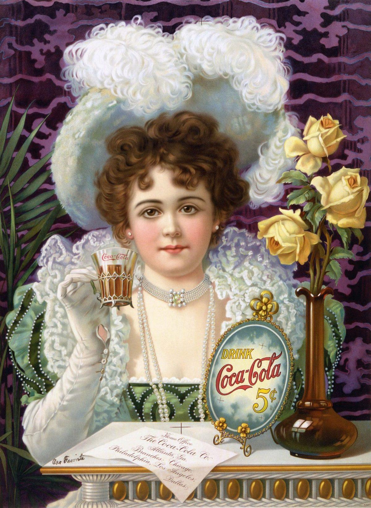 Coca-Cola ad with Hilda Clark, 1890s