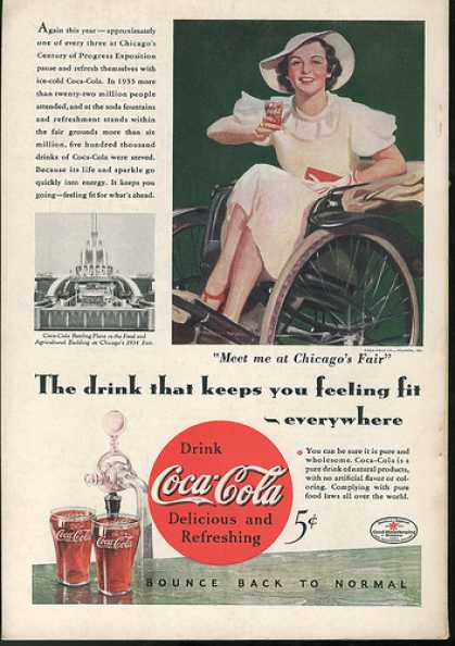 Coca-Cola red button ad, 1930s